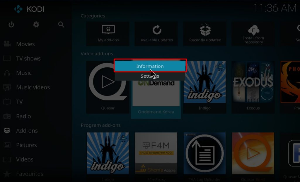 Addon uninstall in Kodi-Select info