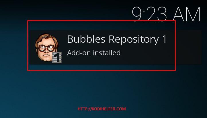 Bubble KODI Addons installiert