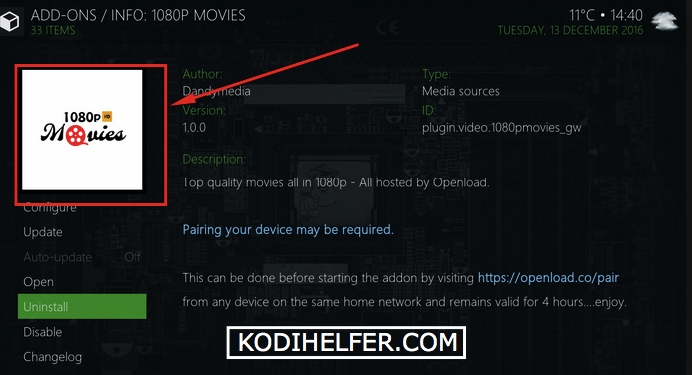 Kodi 1080p Films Addon Installer