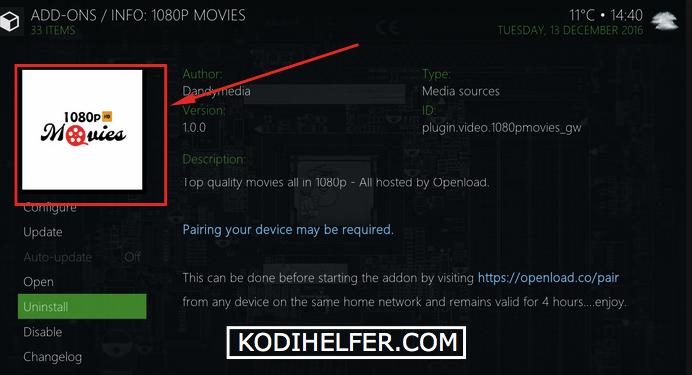 Kodi 1080p Film Addon Installa