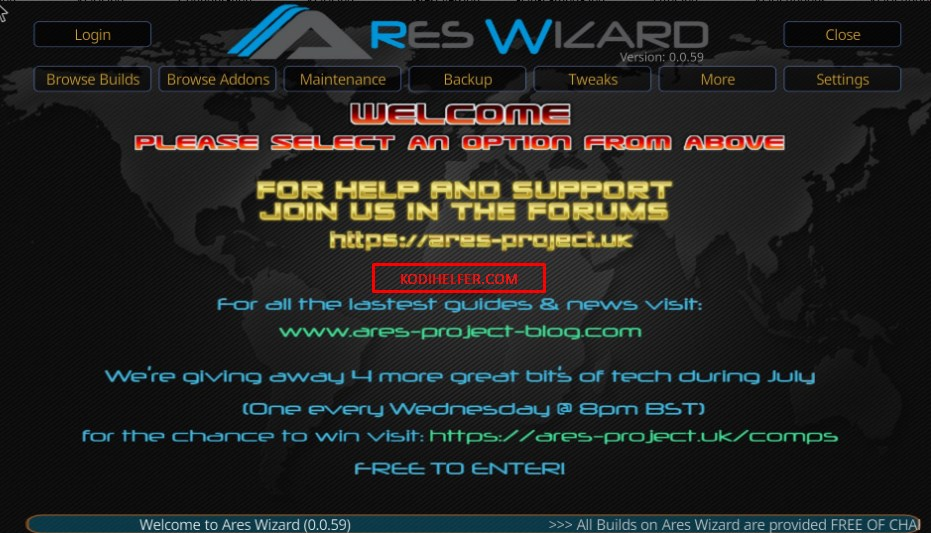 KODI BUILDS Ares Wizard Home screen