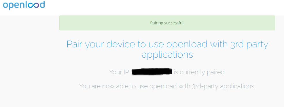 openload pairing succes