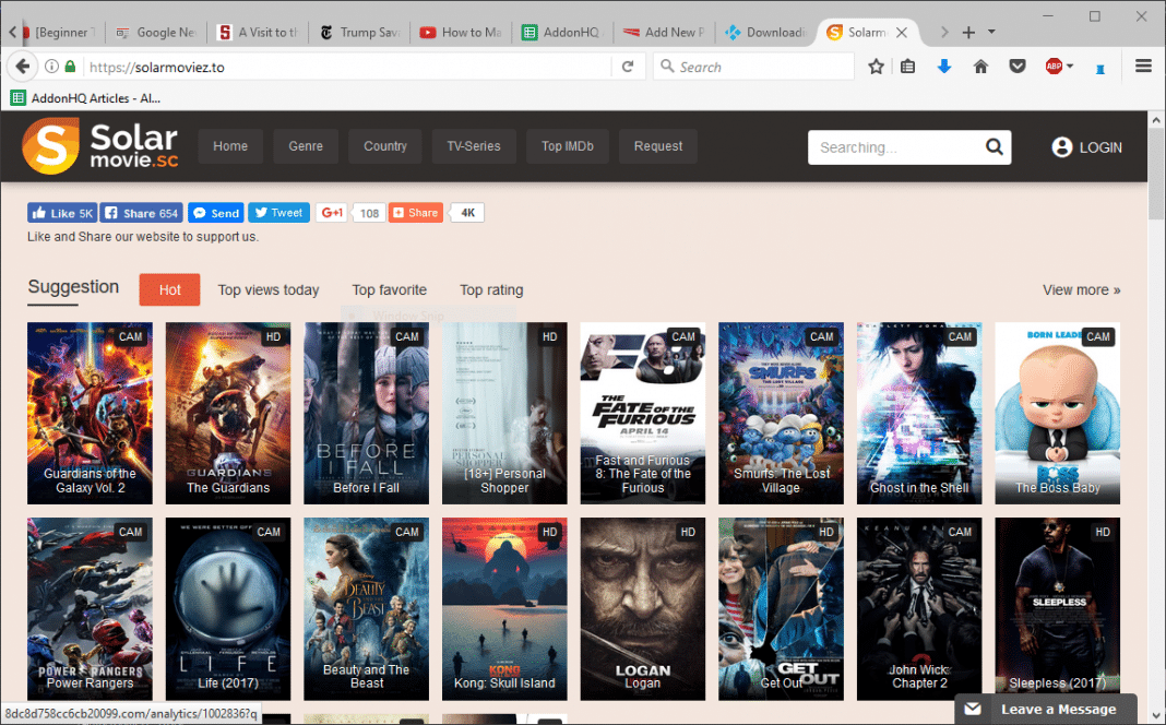 Ein Screenshot der Solar Movie Website.