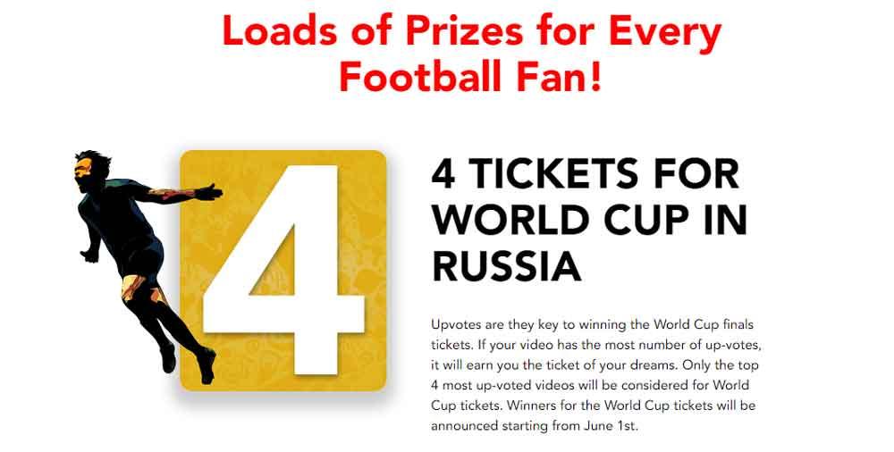 4 entradas para la Copa Mundial en Rusia